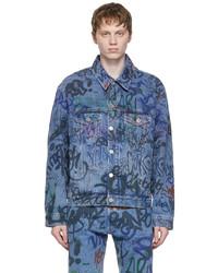 Vetements Blue Denim Graffiti Jacket