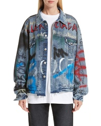 Balenciaga Graffiti Print Denim Jacket