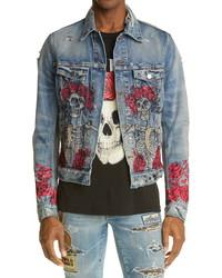 Amiri Grateful Dead Skull Roses Denim Trucker Jacket