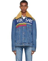 Versace Indigo Denim Logo Jacket