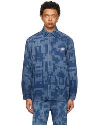 Xander Zhou Blue Denim Pattern Shirt