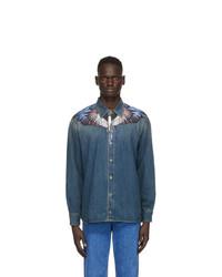 Marcelo Burlon County of Milan Blue Denim Wings Long Sleeve Shirt