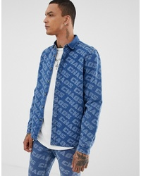 ASOS DESIGN Co Ord Denim Overshirt With Allover Print