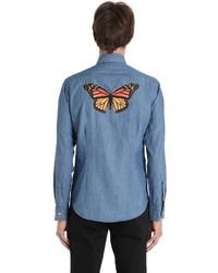 Eton Butterfly Print Cotton Denim Shirt