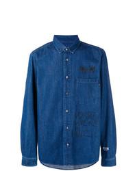 MSGM Printed Denim Buttondown Shirt