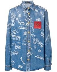 Versace Printed Denim Shirt