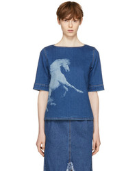 Stella McCartney Blue Denim Pegasus T Shirt