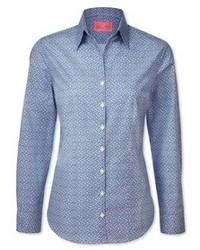 Blue and white leaf print semi fitted shirt medium 80517