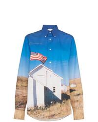 School flag print cotton shirt medium 8238251