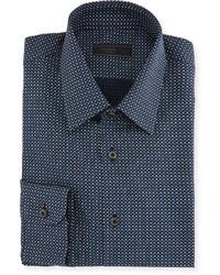 Prada Star Print Dress Shirt Blue