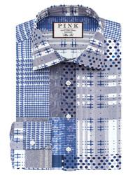 Thomas Pink Bernand Print Slim Fit Button Cuff Shirt