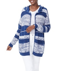 NYDJ Hooded Stripe Cotton Cardigan