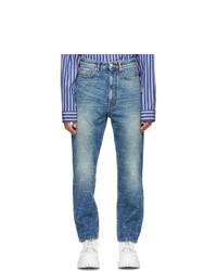 Balenciaga Blue Allover Logo Regular Jeans