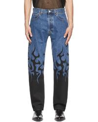 Vetements Blue Black Fire Jeans
