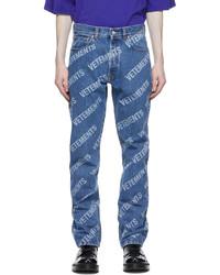 Vetements Blue Denim All Over Logo Jeans