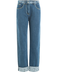 Kenzo Cropped Jeans With Logo Printed Waistband