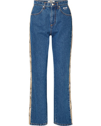 MSGM Snake Effect Faux Med High Rise Straight Leg Jeans