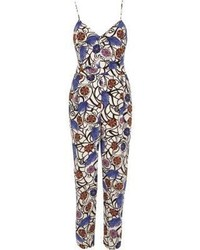 River Island Blue Print Jumpsuit