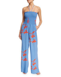 Tory Burch Talisay Floral Print Jumpsuit Coverup Dusk Blue