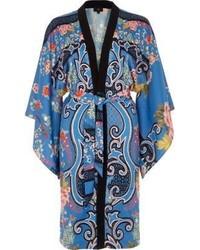 River Island Blue Floral Baroque Print Tie Waist Kimono