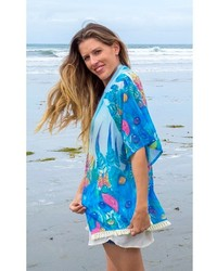Elizabeth Koh Blue Feather Print Kimono Cardigan