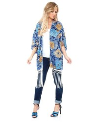 White mark print fringe open front kimono medium 6368512