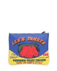 Leos Tomato Printed Faux Leather Clutch