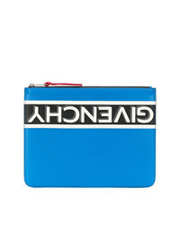 Blue Print Leather Zip Pouch