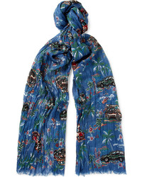 Saint Laurent Printed Cashmere And Silk Blend Scarf