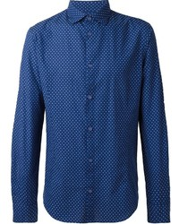 Armani Jeans Polka Dot Print Cuff Detail Button Down Shirt