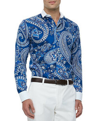 Etro Bankers Collar Paisley Print Sport Shirt Blue
