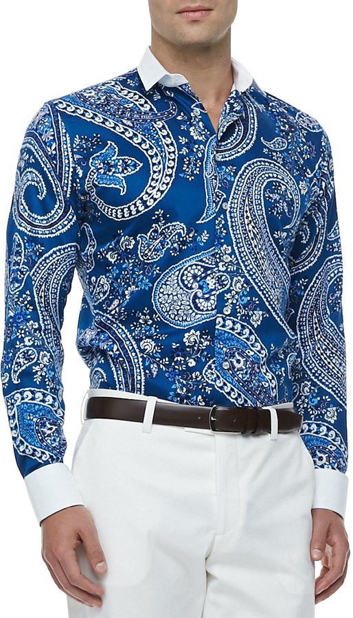 ... Etro Bankers Collar Paisley Print Sport Shirt Blue ...