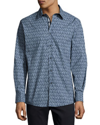 English Laundry Baroque Print Button Front Sport Shirt Navy