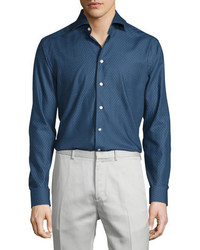 Eton Circle Print Long Sleeve Sport Shirt