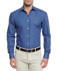 Kiton Circle Print Woven Sport Shirt Bluebrown