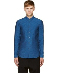 Calvin Klein Collection Blue Broken Lines Printed Shirt