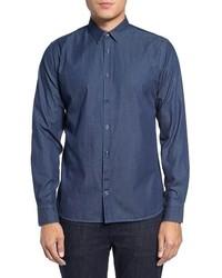 J. Lindeberg Daniel Ca Slim Fit Print Indigo Sport Shirt