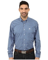 Cinch Long Sleeve Plain Weave Print Long Sleeve Button Up