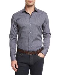 Ermenegildo Zegna Micro Print Long Sleeve Sport Shirt Navy