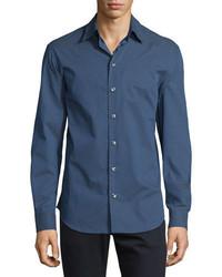 Armani Collezioni Micro Tick Print Woven Sport Shirt Navywhite