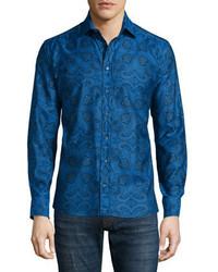 Etro Paisley Print Long Sleeve Shirt Blue