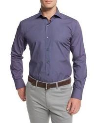 Peter Millar Poppy Print Long Sleeve Sport Shirt Navy