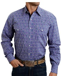 Stetson Printed Poplin Shirt Snap Front Long Sleeve