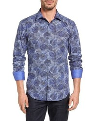 Bugatchi Shaped Fit Graphic Sport Shirt