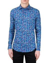 Shaped fit print sport shirt medium 4422958