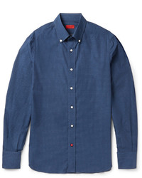 Isaia Slim Fit Button Down Collar Printed Cotton Shirt