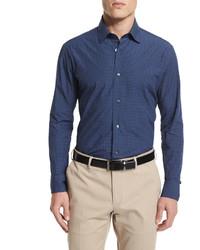 Salvatore Ferragamo Small Gancini Print Long Sleeve Sport Shirt Navy