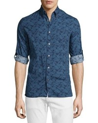 John Varvatos Star Usa Slim Fit Printed Roll Tab Sport Shirt Dutch Blue