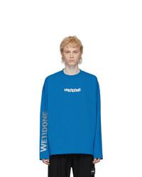 We11done Blue Remake Logo Long Sleeve T Shirt