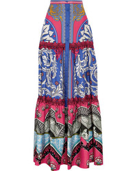 Mary Katrantzou Kings Fuxia Printed Silk Twill Maxi Skirt Blue